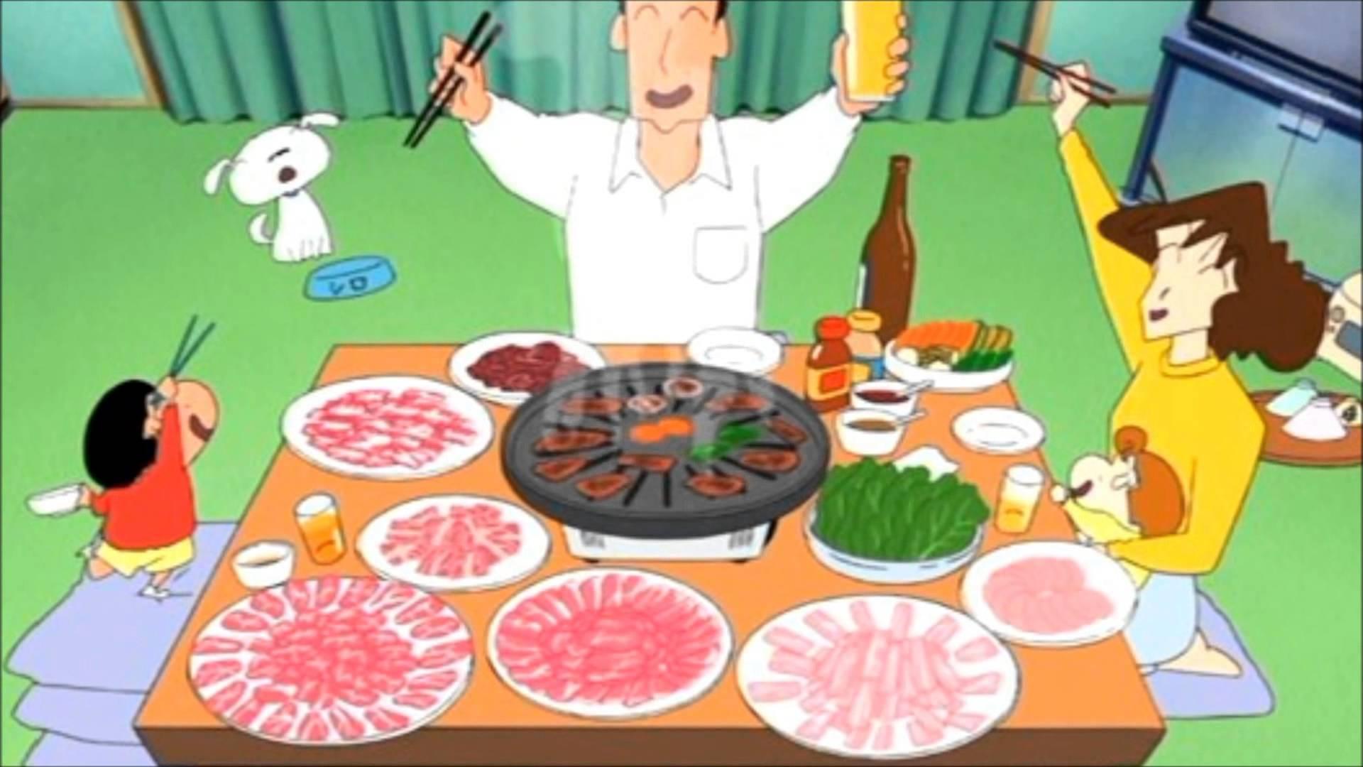 焼き肉パーティーのクレヨンしんちゃん
